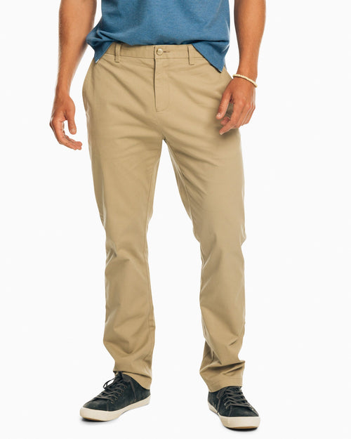 The front view of the Men's Khaki The New Channel Marker Chino Pant by Southern Tide