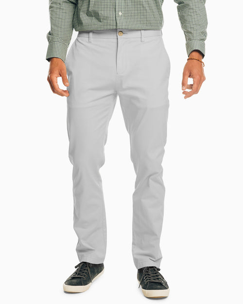 The front view of the Men's Grey The New Channel Marker Chino Pant by Southern Tide