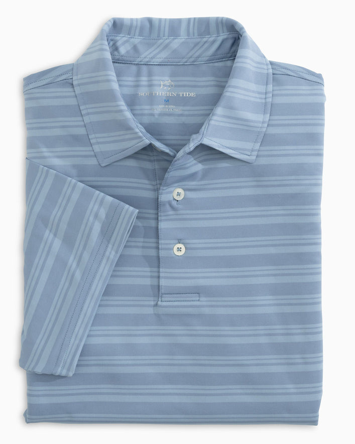 Tonal Striped Performance Polo Shirt