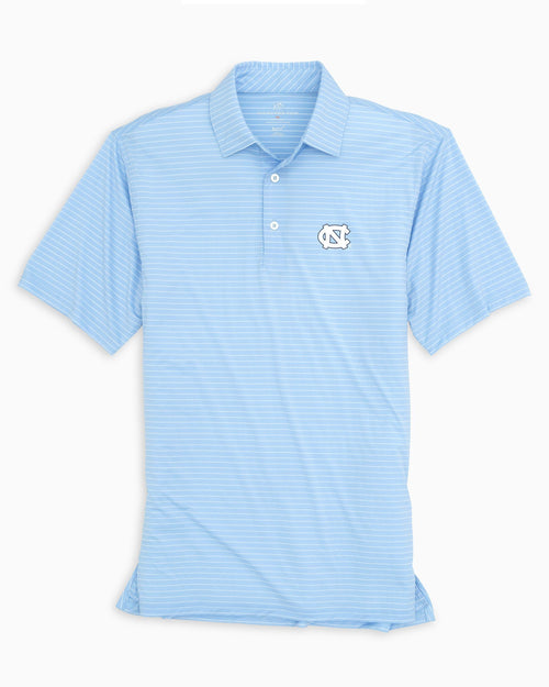 The front view of the Men's Light Blue UNC Tar Heels BRRR® Striped Polo Shirt by Southern Tide