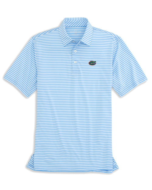 The front view of the Men's Light Blue Florida Gators Striped Polo Shirt by Southern Tide