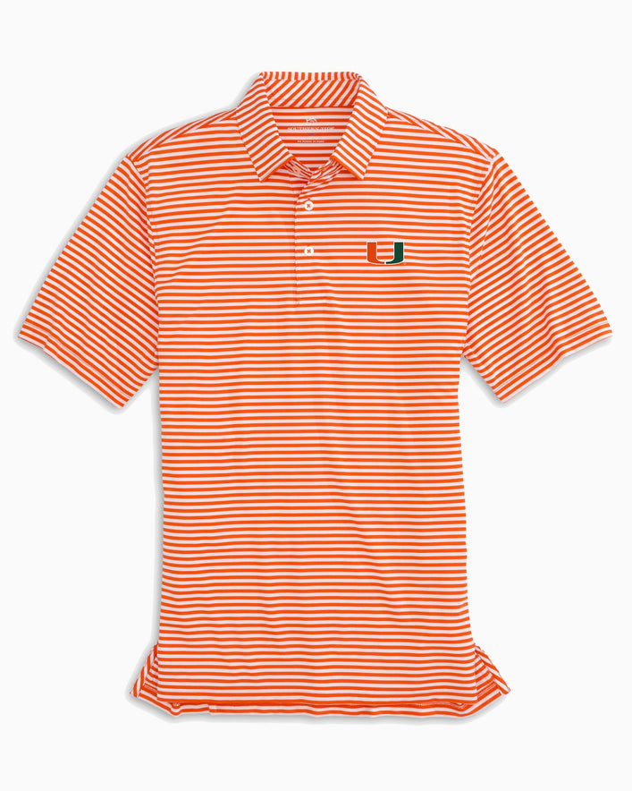 University of Miami Striped Polo Shirt