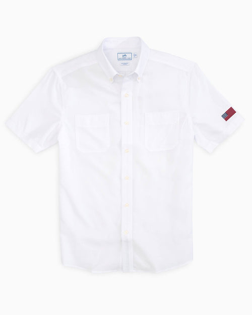The back view and pocket detail of the Men's White USA Short Sleeve Performance Dock Shirt by Southern Tide