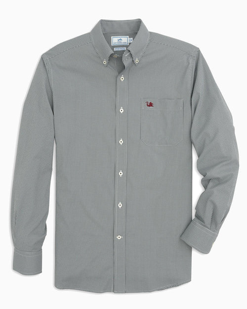 The front view of the Men's Black USC Gamecocks Gingham Button Down Shirt by Southern Tide