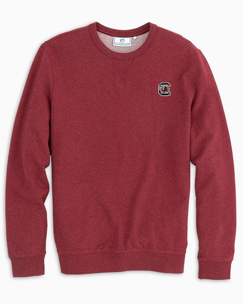 The front view of the Men's Red USC Upper Deck Pullover Sweatshirt by Southern Tide