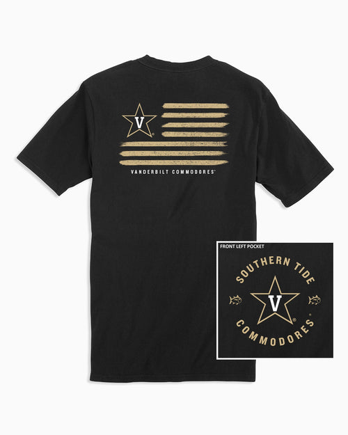 The back view and pocket detail of the Men's Black Vanderbilt Commodores Flag T-Shirt by Southern Tide
