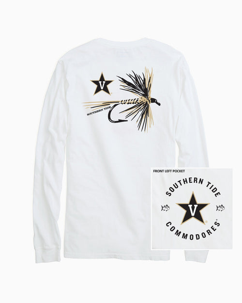 The back view and pocket detail of the Men's White Vanderbilt Commodores Fly Long Sleeve T-Shirt by Southern Tide