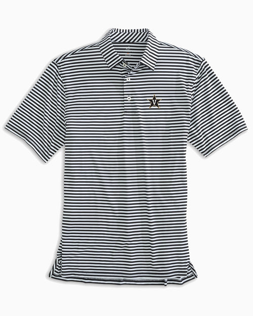 The front view of the Men's Black Vanderbilt Commodores Striped Polo Shirt by Southern Tide