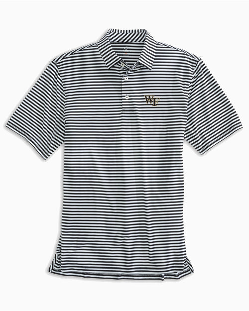 The front view of the Men's Black Wake Forest Striped Polo Shirt by Southern Tide