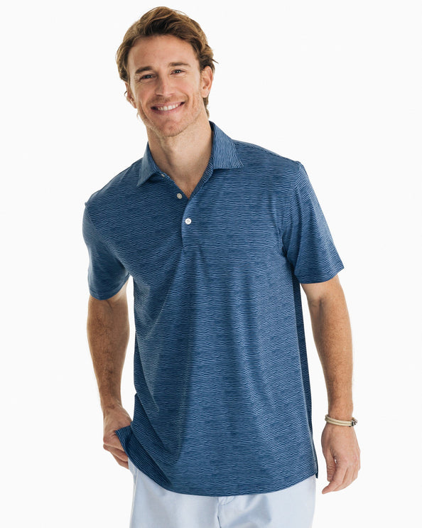 Wave Print Driver Performance Polo Shirt