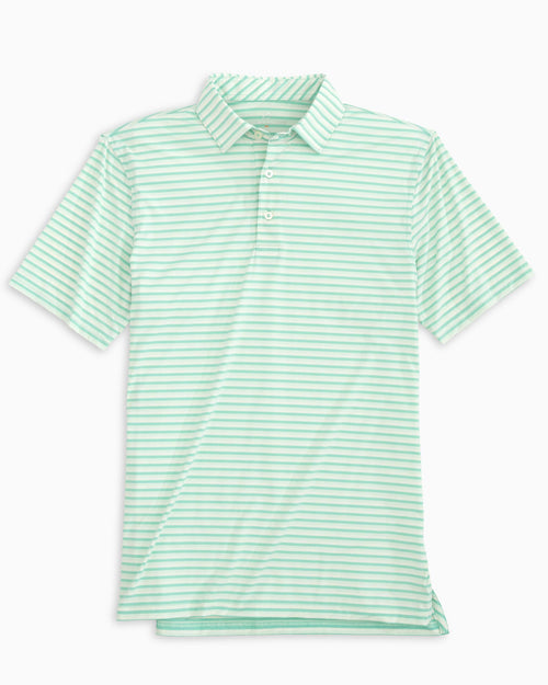 The front of the Men's Waypoint Stripe BRRR®-eeze Performance Polo Shirt by Southern Tide