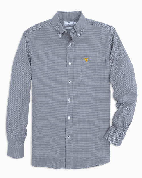 The front view of the Men's Navy West Virginia Gingham Button Down Shirt by Southern Tide