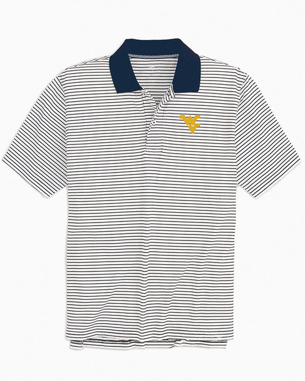 West Virginia Mountaineers Pique Striped Polo Shirt