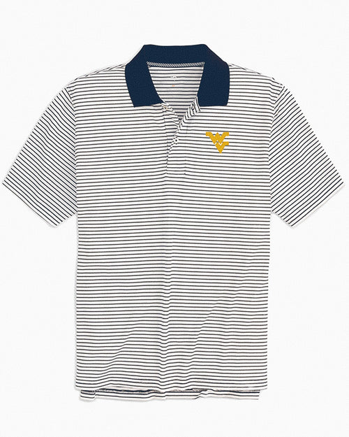 West Virginia Mountaineers Pique Striped Polo Shirt | Southern Tide