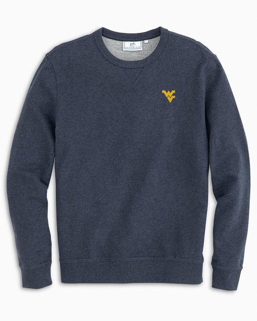 The front view of the Men's Navy West Virginia Upper Deck Pullover Sweatshirt by Southern Tide