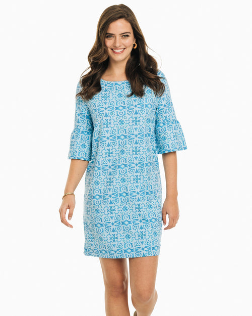 The front view of the Women's Light Blue Whitnee Printed Performance Dress by Southern Tide
