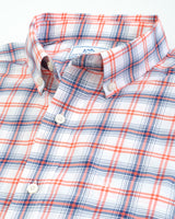 The folded view of the Men's Orange Window Plaid Intercoastal Short Sleeve Sport Shirt by Southern Tide
