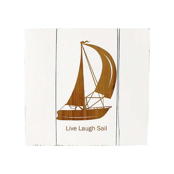 Personalized White Rustic Sailboat Wooden Wall Art