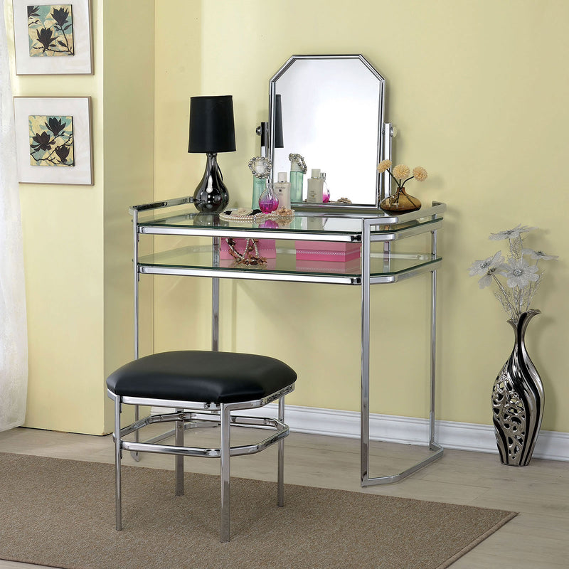 Furniture of America COLLEEN VANITY W/ STOOL, CHROME