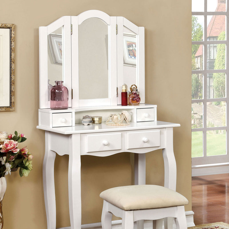Furniture of America JANELLE VANITY W/ STOOL, WHITE