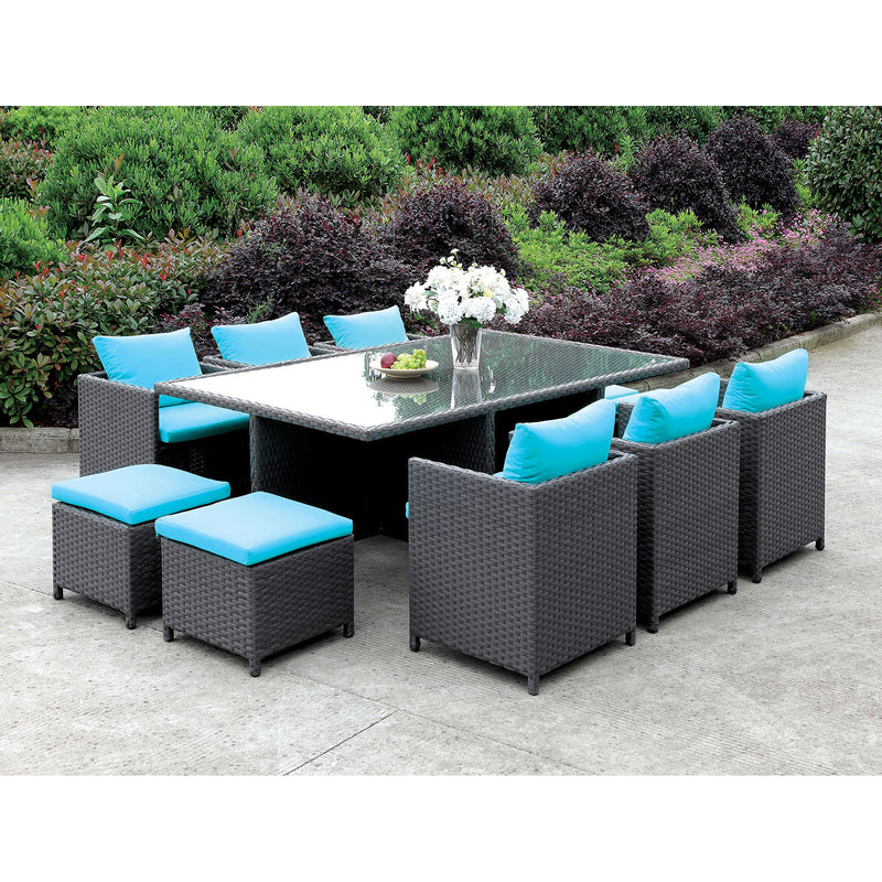 Furniture of America ASHANTI 11 PC. PATIO DINING SET