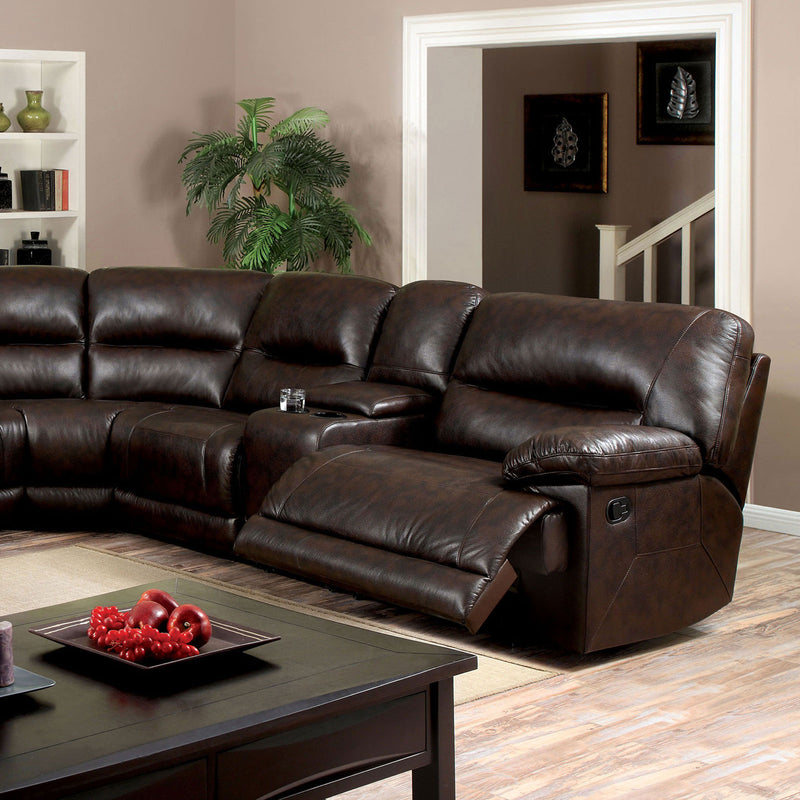 Furniture of America GLASGOW SECTIONAL W/ 2 CONSOLES