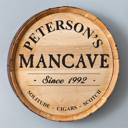 Whiskey Barrel Sign - Man Cave