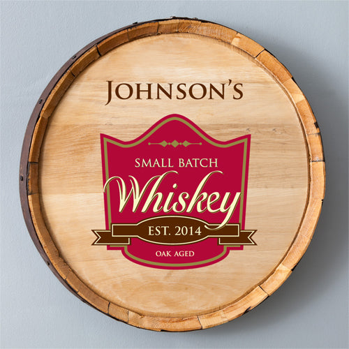 Whiskey Barrel Sign - Small Batch/Oak Aged