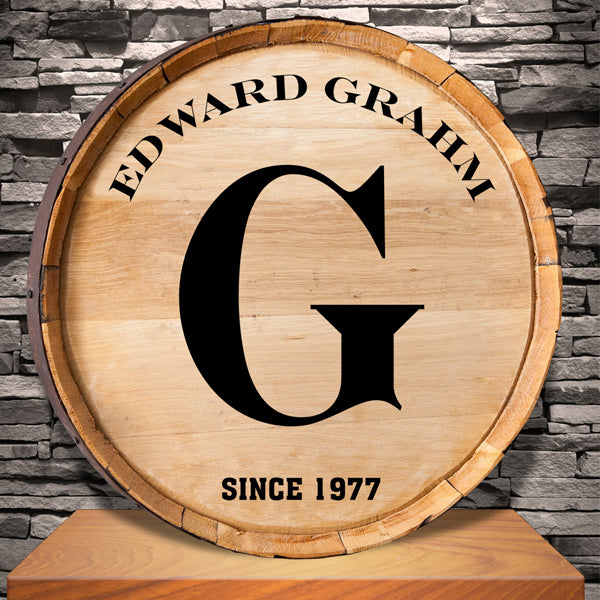 Whiskey Barrel Sign - Initial