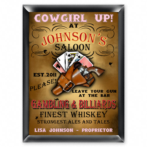 Personalized Traditional Pub Sign - Cowgirl