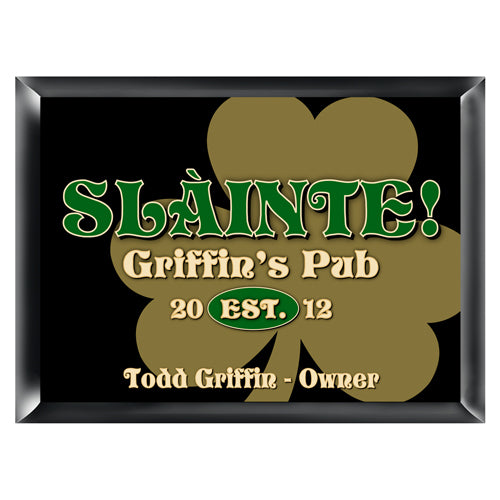 Personalized Traditional Pub Sign - Gold Clover