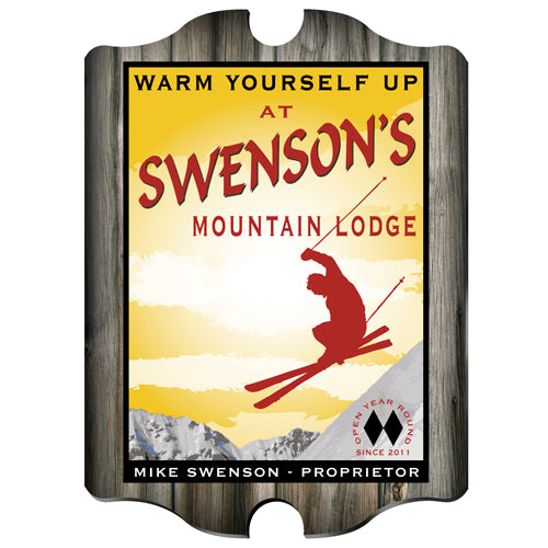 Vintage Series Personalized Sign - Ski Lodge