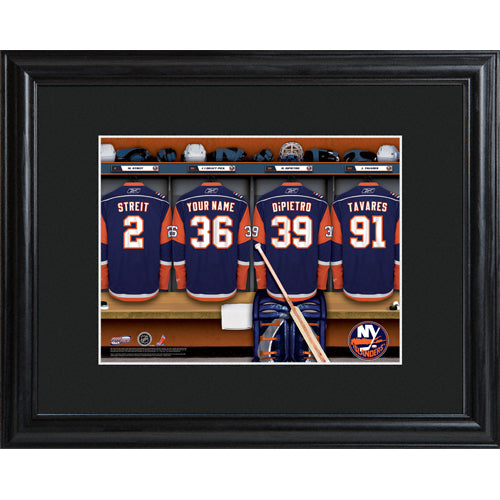 NHL Locker Room Print in Wood Frame - Islanders
