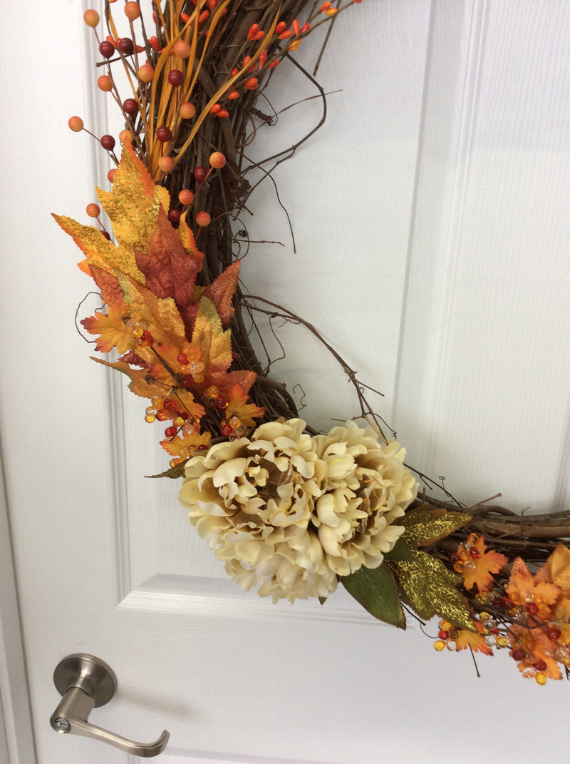 "26"" Fall Wooden Wreath"
