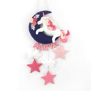 Personalised Unicorn on a Moon Wall Hanging