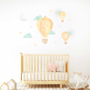 Hot Air Balloon Yellow - Wall Decal Sticker
