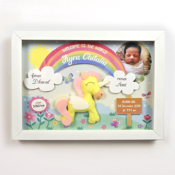 Unicorn 3D Birth Detail Photo Frame