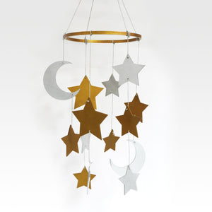 Gilded Star & Moon Mobile Hanging