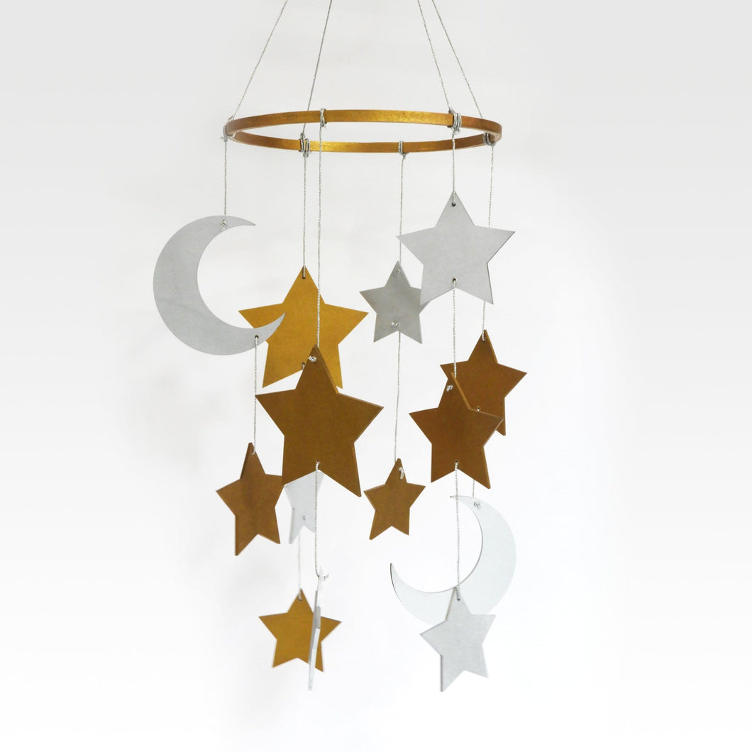 Gilded Star & Moon Cot Mobile