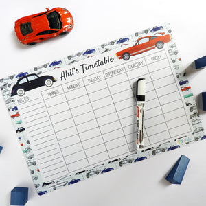 Rewritable Timetable Magnet - Vintage Sports Car