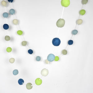 Blue and Green Felt Ball Garland