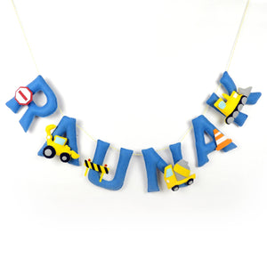 Personalised Construction Theme Name Bunting / Garland