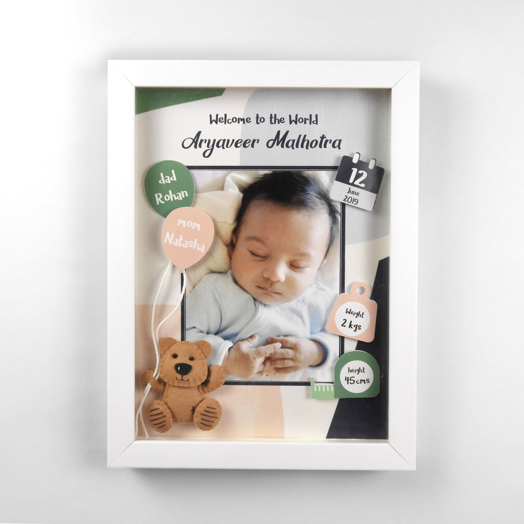 3D Birth Detail Photo Frame