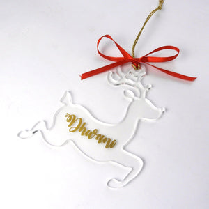 Personalised Christmas Frosted Ornament - Reindeer