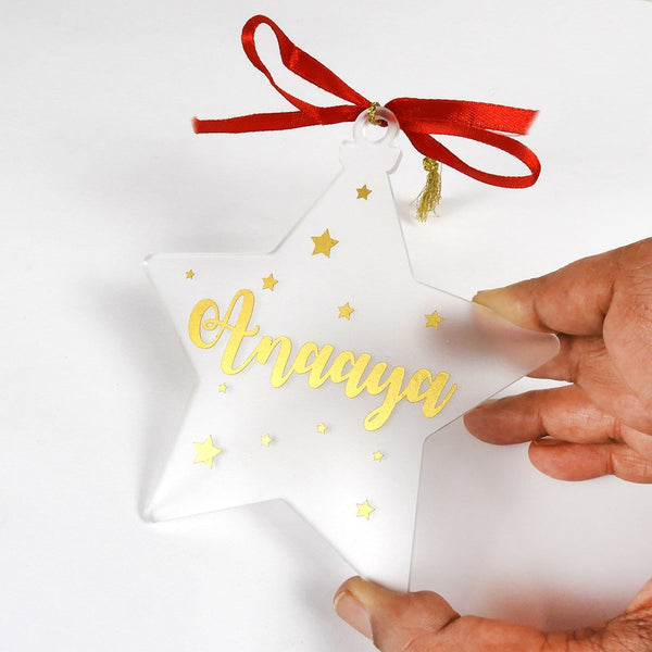 Personalised Star shaped frosted Christmas ornament