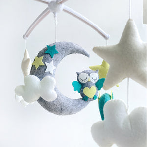 Elephant Owl Moon Cot Mobile
