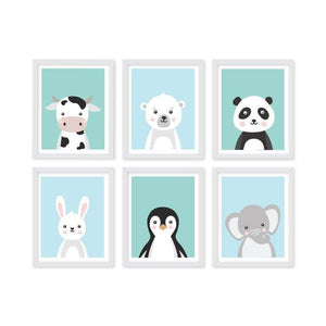 Monochrome Animal Portrait Frames Set