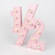 pink half number baby marquee light