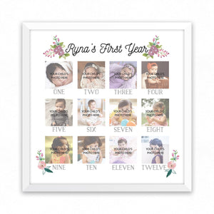 1st Year Memory Frame - Floral