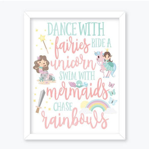 Unicorns, Mermaids & Fairies - Wall Art